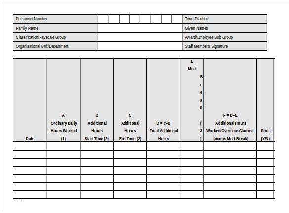 additional hours timesheet template free download word format