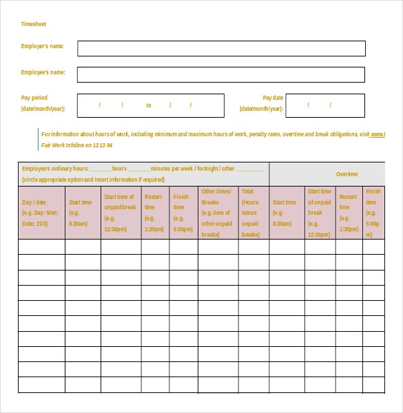 free download word format timesheet template
