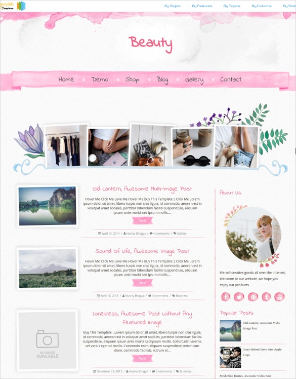 beauty photo blogger template