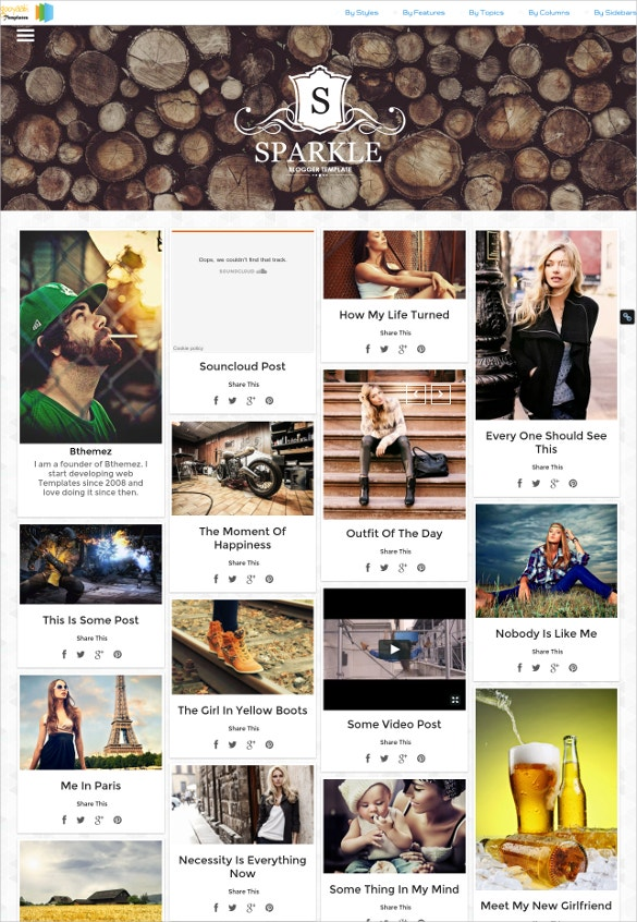grid responsive photography blogger template