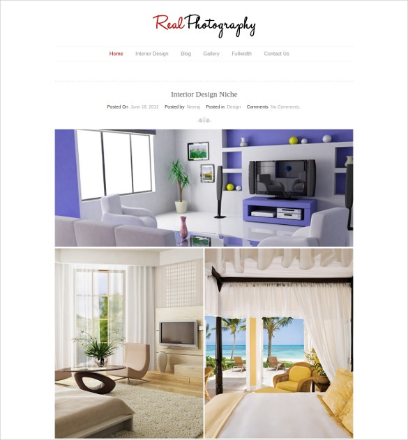 interior photography blog website template