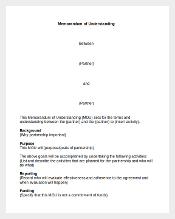 Sample Memorandum of Understaindin Template MS Word Doc