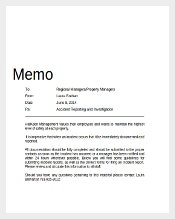 Professional Incident Reporting Memo Document Download