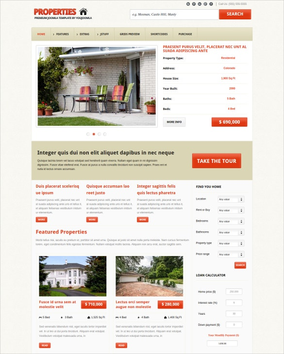 real estate property joomla template