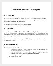 Sample Debit Memo Policy for Travel Agents