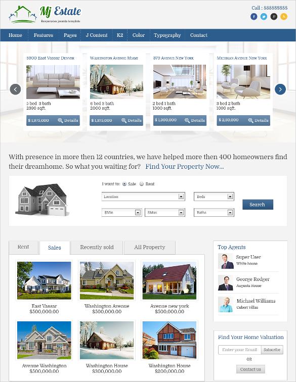 elegant real estate joomla template