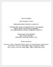 Sample Memo of Meeting Template Free Download