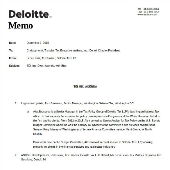 deloitte memo free download word 2010 format template