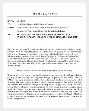 Example Format Faculty Evalution System Interoffice Memo Template