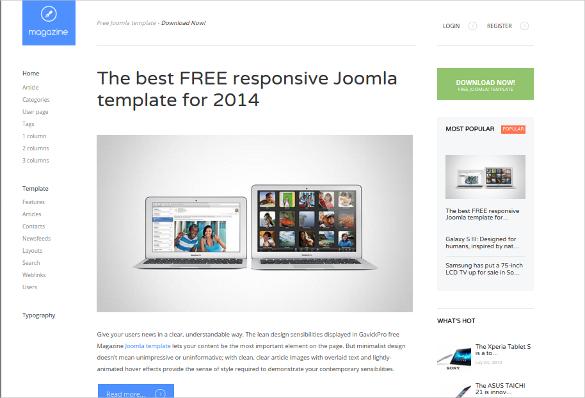 free responsive joomla magazine template