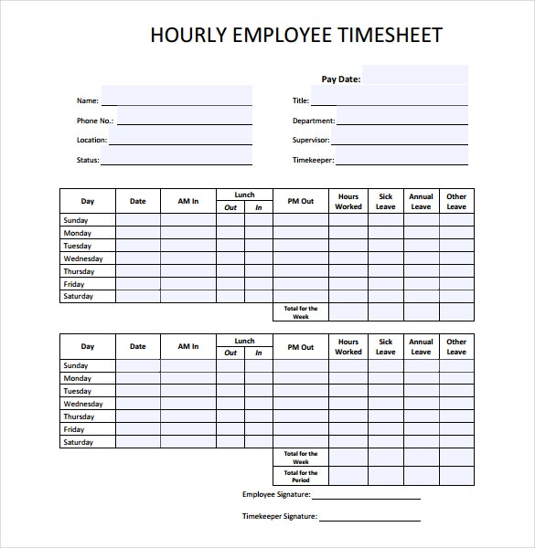 Blank Timesheet Templates  Free Sample Example Format Download