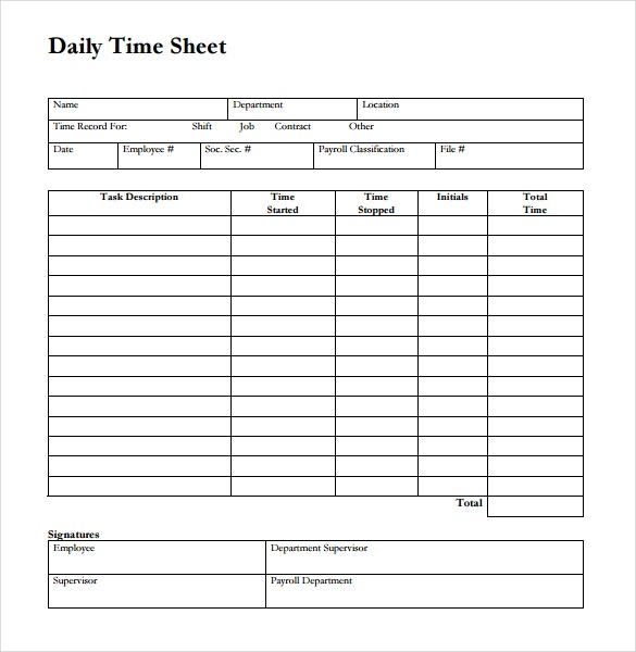 14 Blank Timesheet Templates Free Sample Example Format – Time Sheet Template