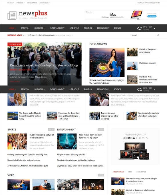 latest news magazine joomla website template