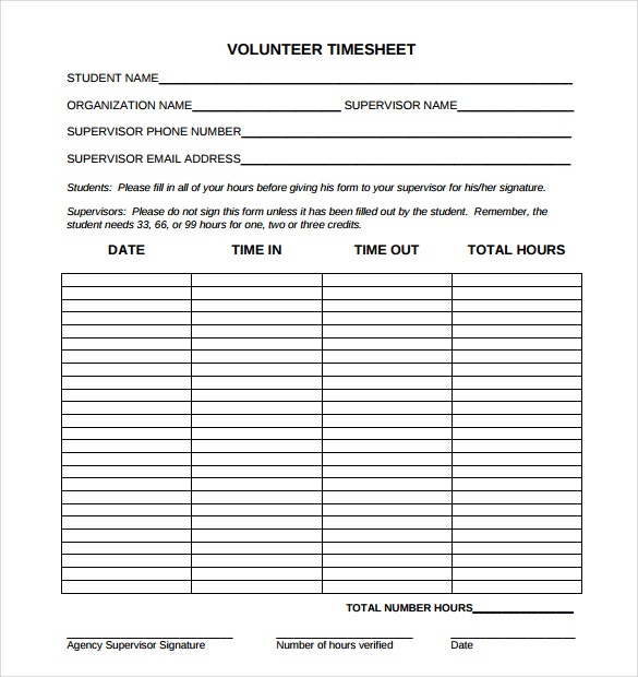 Awesome Volunteer Timesheet Template In PDF Format