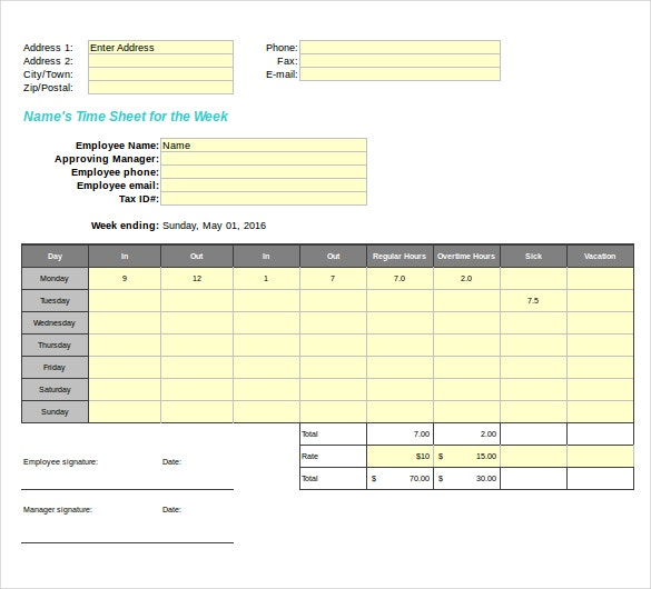 Sample Blank Timesheet  KakTakTk