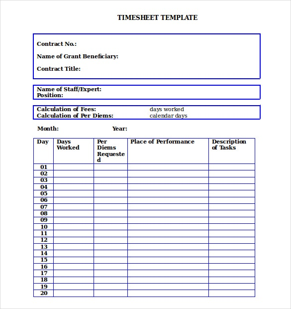 14+ Blank Timesheet Templates u2013 Free Sample, Example Format Download ...