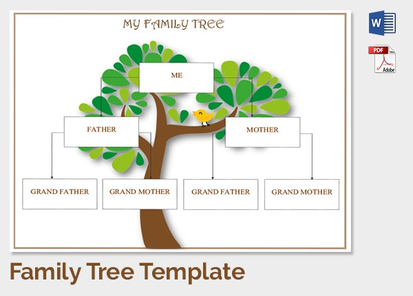 Family Tree Template 37 Free Printable Word Excel PDF PSD – Family Tree Template