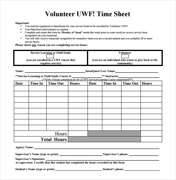 13 Volunteer Timesheet Templates Free Sample Example Format – Free Timesheet Forms