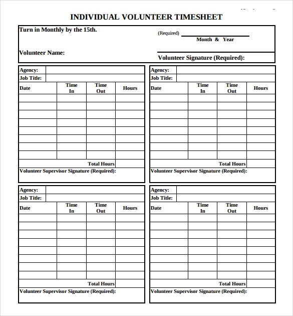 Useful Sample Volunteer Timesheet Templates to Download