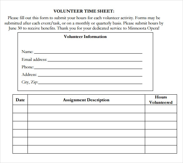 volunteer blank timesheet template download in pdf