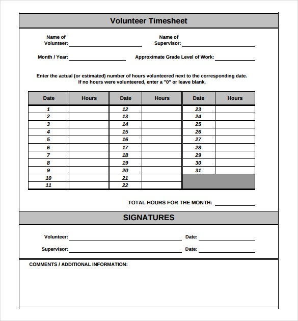 monthly volunteer timesheet template download in pdf
