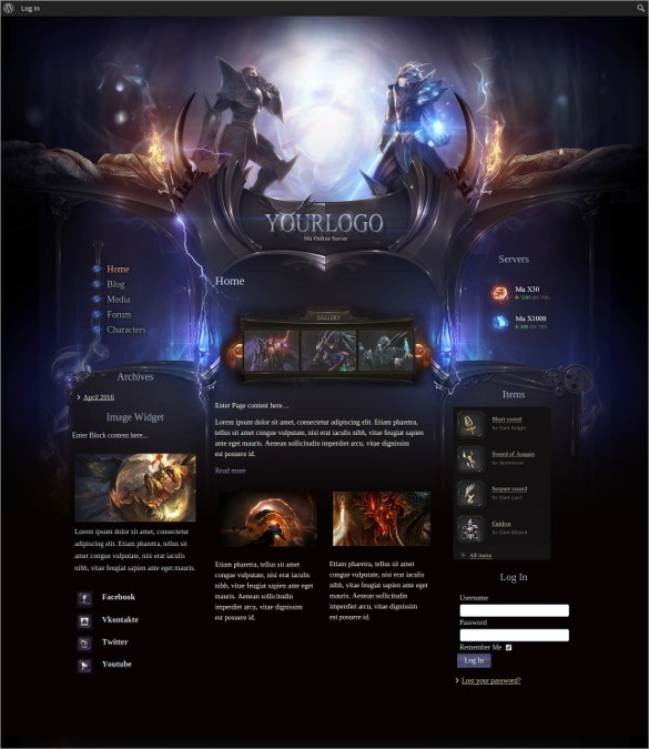 Gaming Website Themes Templates Free Premium Templates - Gaming website template