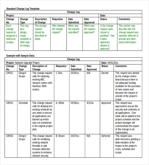 document change log template | datariouruguay