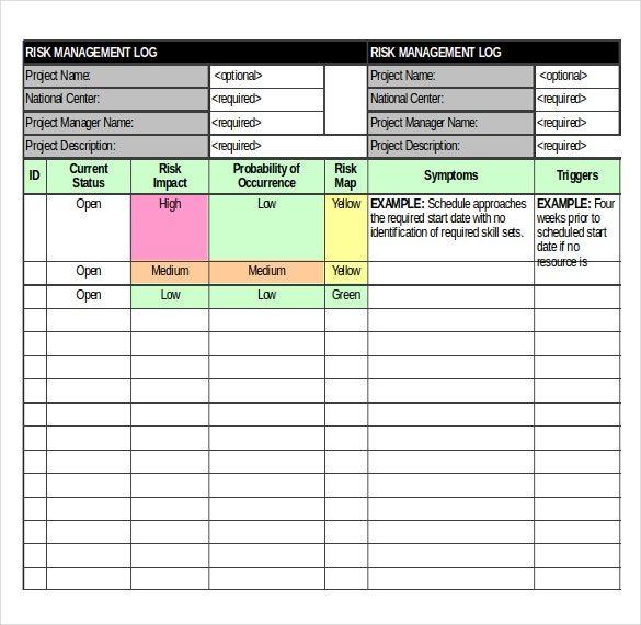 Lovely Risk Log Template MS Excel Download