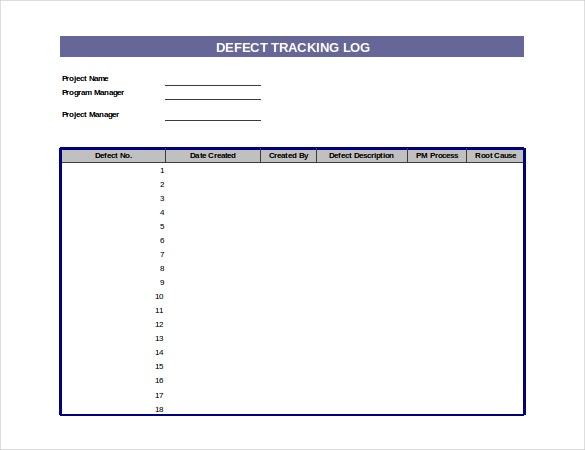 defect tracking log template download in excel format