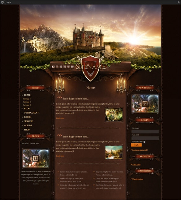 game catle joomla website template