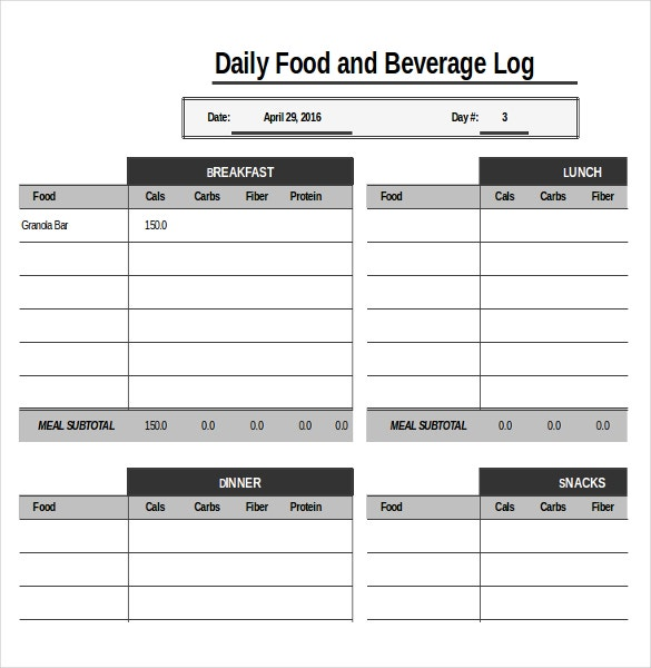 food diary log template xls download