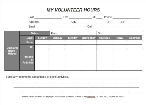 Volunteer Hours Log Template Excel Kubreforic