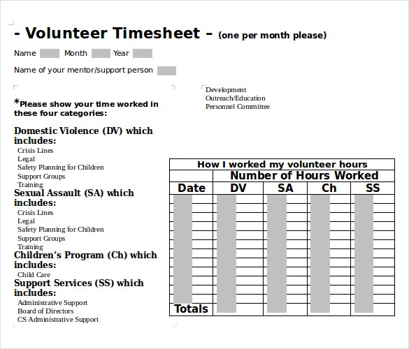 microsoft word 2010 volunteer timesheet template download