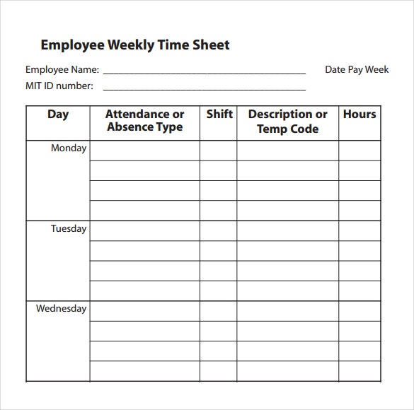 13 Simple Timesheet Templates Free Sample Example Format – Free Timesheet Forms