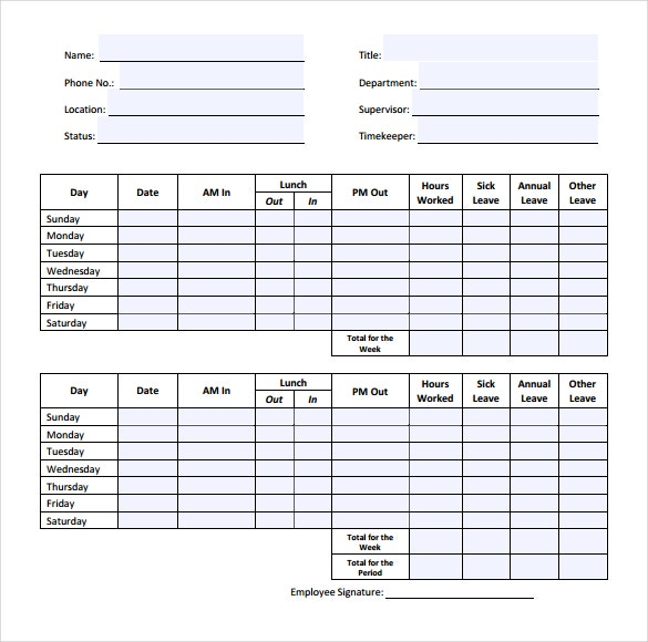 Simple Timesheet Templates  Free Sample Example Format