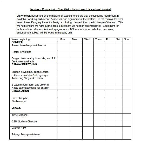 microsoft word checklist template download free