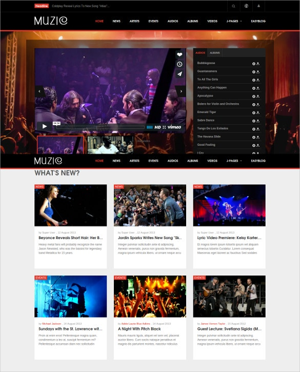 responsive music joomla entertainment template