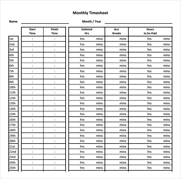 32 simple timesheet templates free sample example format