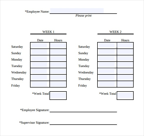 simple printable time sheets