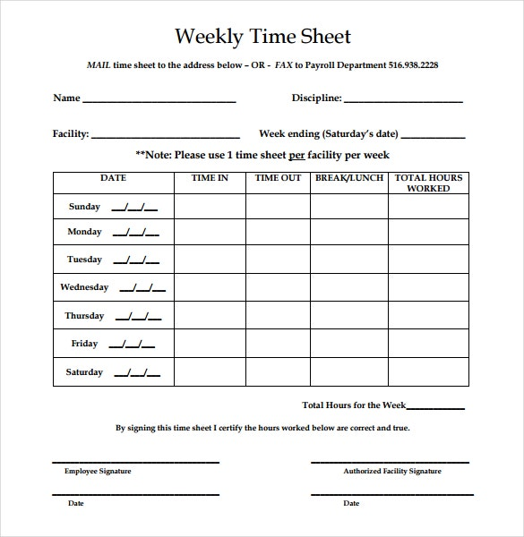 Weekly Time Sheet Format  NinjaTurtletechrepairsCo