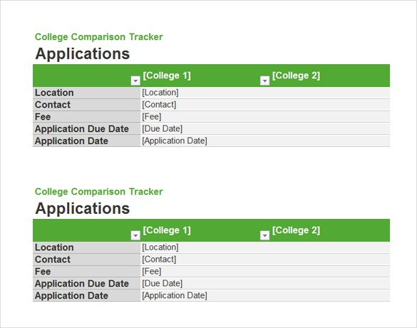 college comparison tracker free ms word download