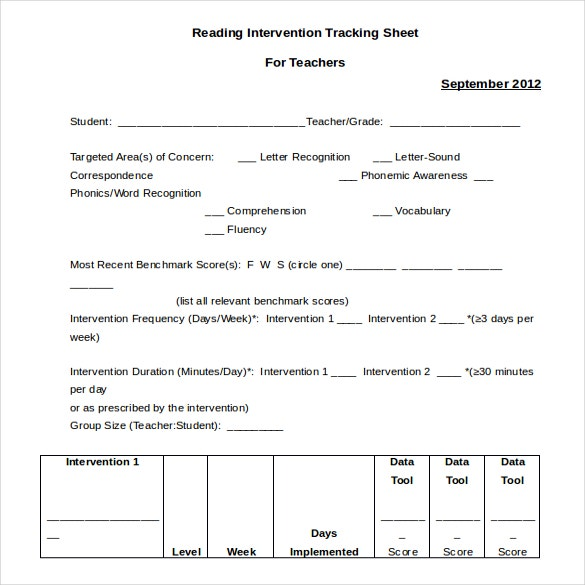 ms word free team intervention tracking sheet template
