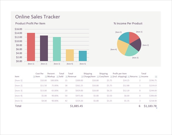 online sales tracker template free word download