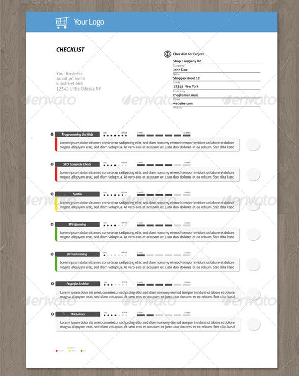 clean creative checklist psd format template