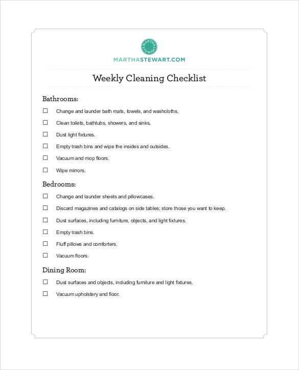 checklist weekly clean free pdf format download