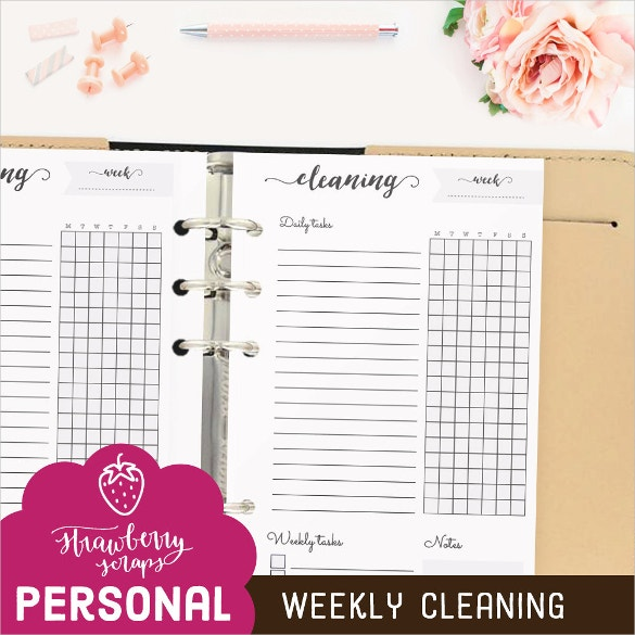 weekly cleaning cleaning checklist template