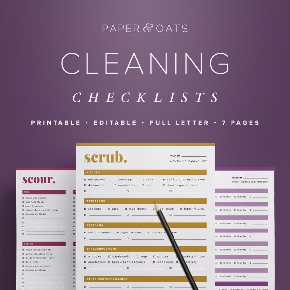 editable cleaning checklists template download