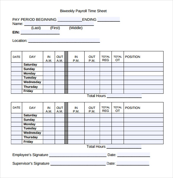 12 Payroll Timesheet Templates Free Sample Example Format – Sample Payroll Timesheet Calculator
