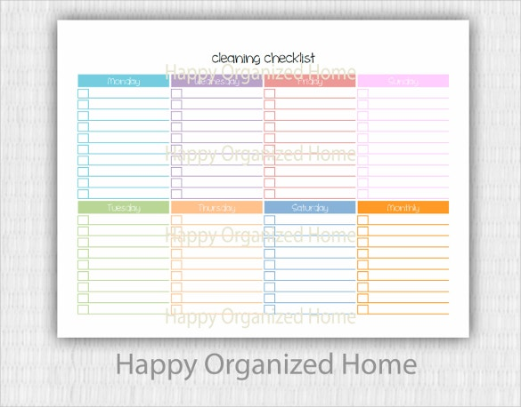 Cleaning Checklist Template 38 Word Excel Pdf Documents