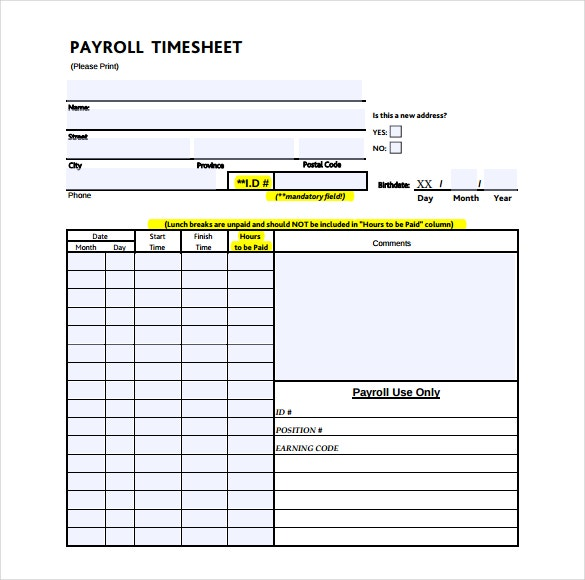 monthly payroll timesheet template download in pdf